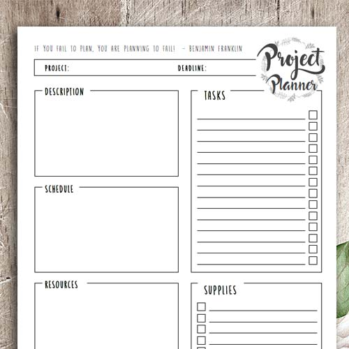 Great printables to plan your projects. You can print them over and over again for various projects.