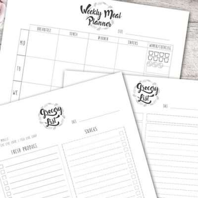 The Meal Planner Set is a simple 3 page planner to plan your weekly meals and grocery list.