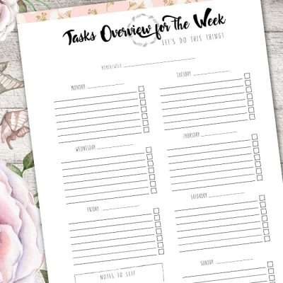 The Tasks Overview Planner is a versatile planner for any tasks you may have in mind for personal/business. Have a clear overview of tasks for the week!