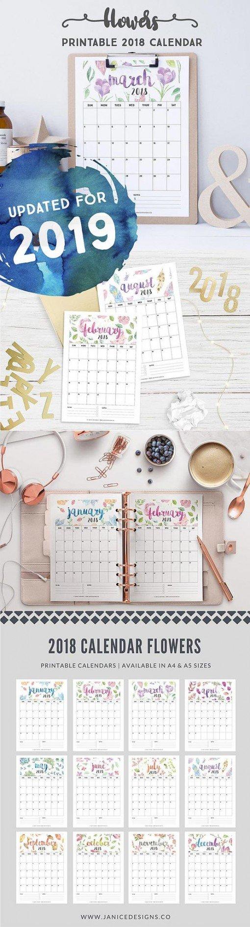 2019 Printable Calendar: Flowers