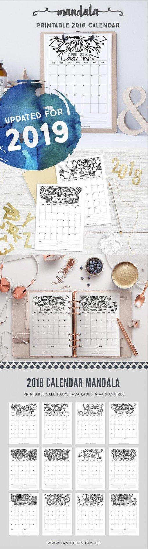 2019 Printable Calendar - Mandala