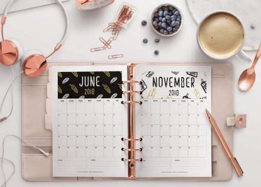 2018 Calendar: Black & Gold | A5 Binder | Clipboard | Wire-binding