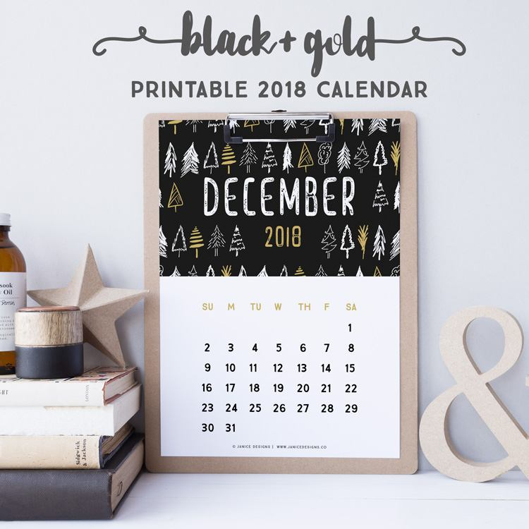 2018 Calendar: Black & Gold | A5 Binder | Clipboard | Wire-binding