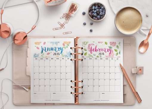 2018 Calendar: Flowers | A5 Binder | Clipboard | Wire-binding
