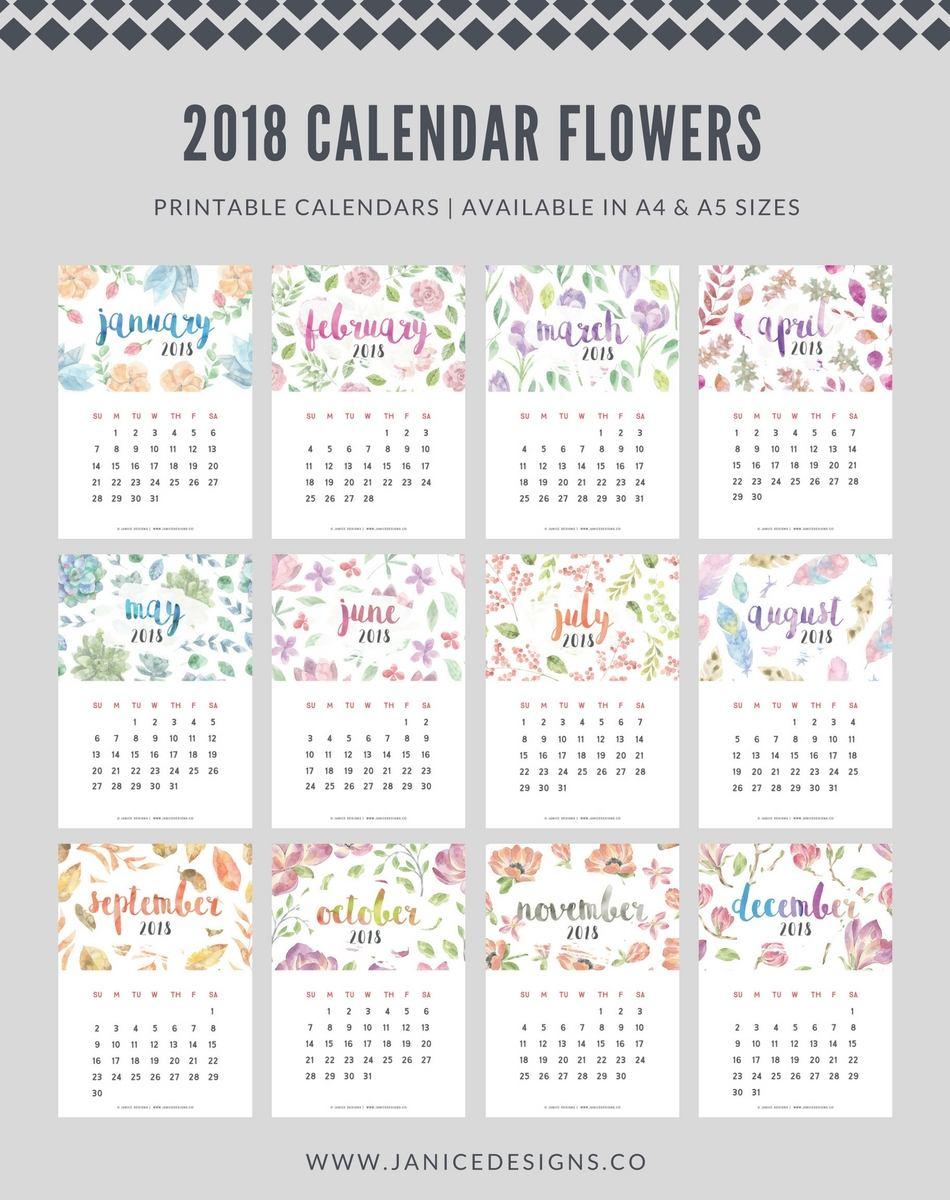 2018 Calendar Flowers A5 Binder Clipboard Wire Binding