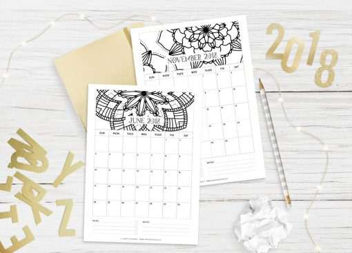 2018 Calendar: Mandala | A5 Binder | Clipboard | Wire-binding