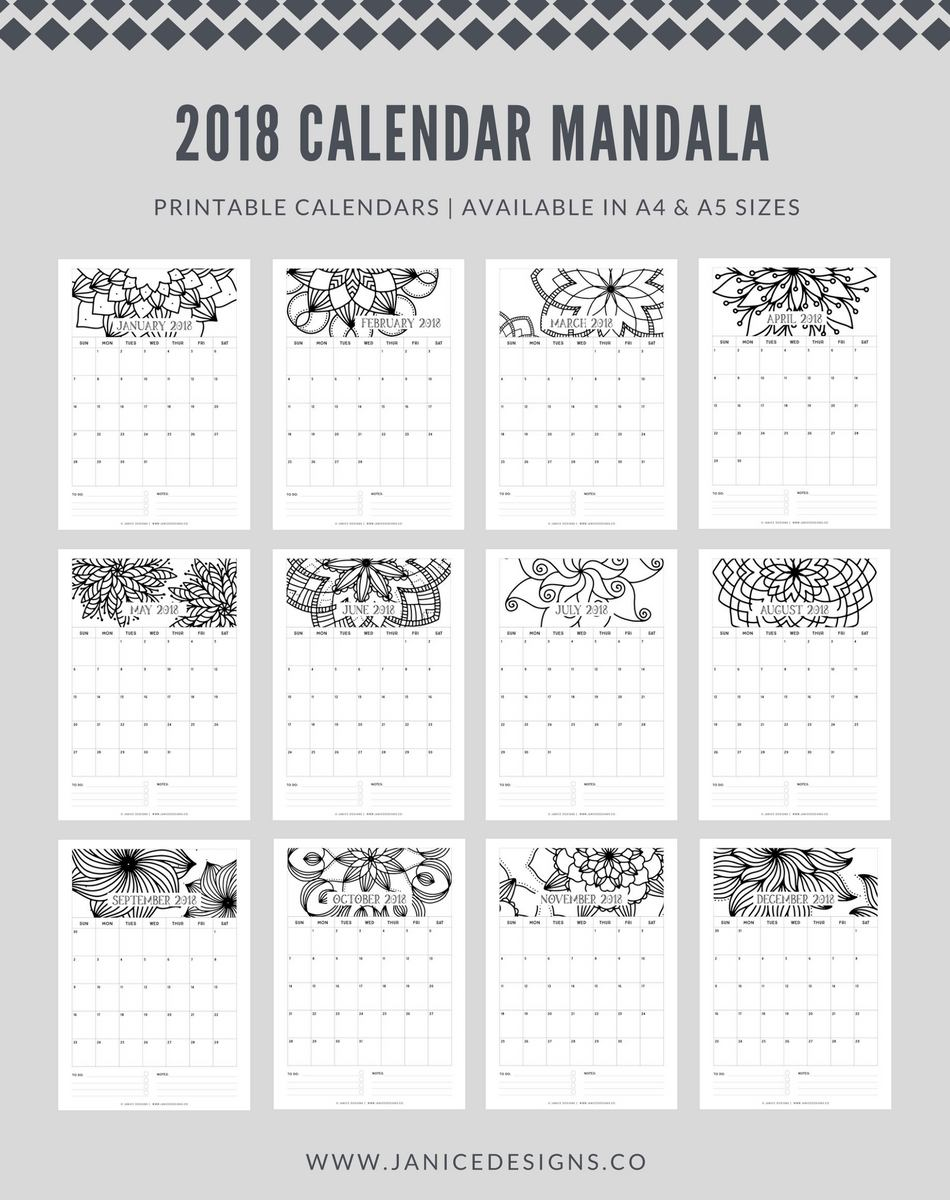 2018 Calendar: Mandala | A5 Binder | Clipboard | Wire-binding