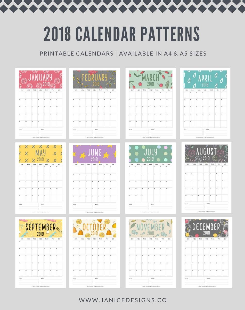 2018 Calendar: Patterns | A5 Binder | Clipboard | Wire-binding