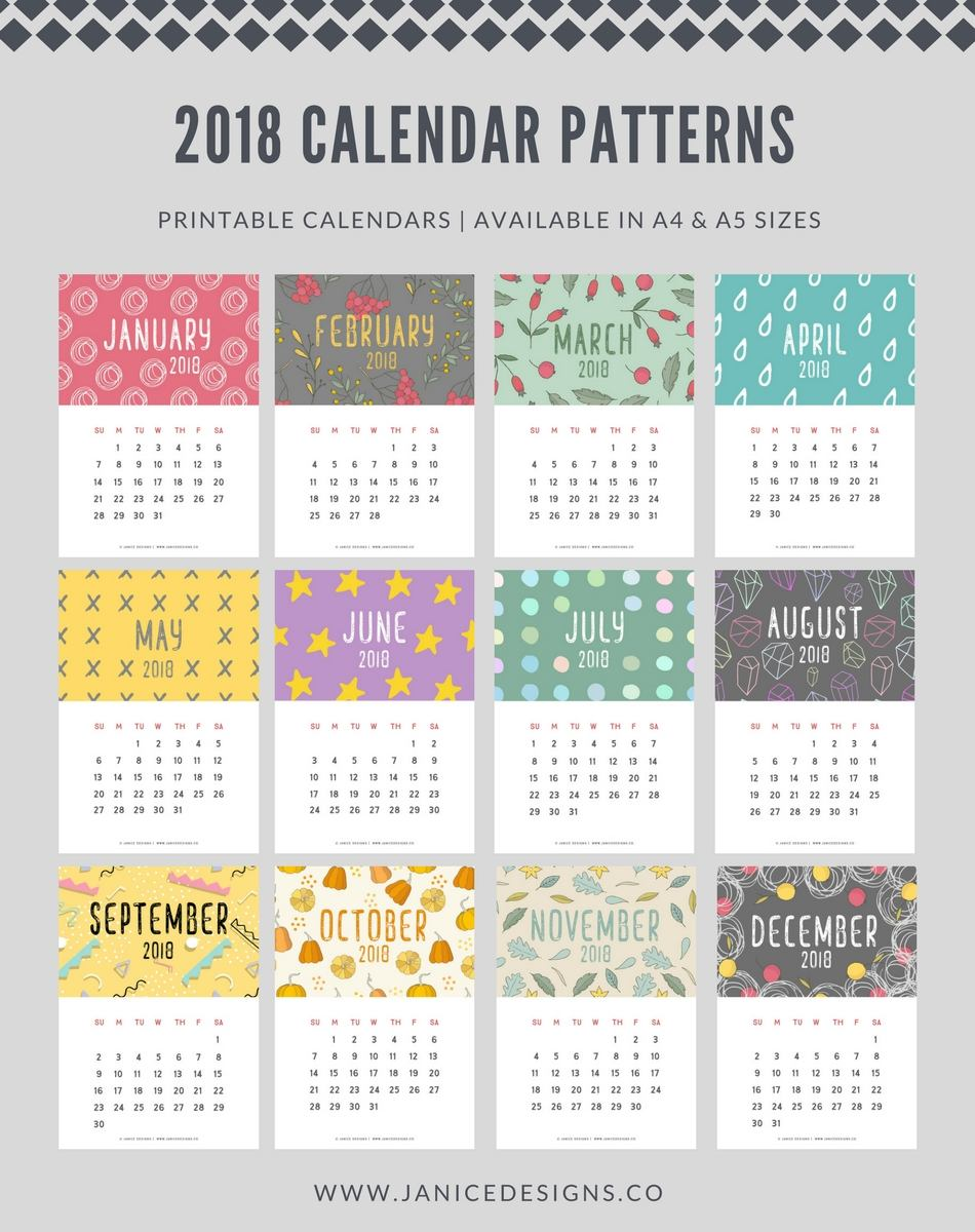 2018 Calendar: Patterns | A5 Binder | Clipboard | Wire-binding