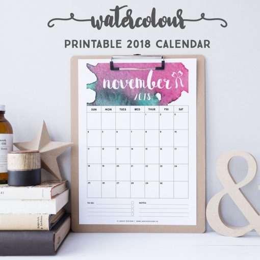 2018 Calendar: Watercolour | A5 Binder | Clipboard | Wire-binding