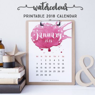 2018 Calendar: Watercolour | A5 Binder | Clipboard | Wire-binding