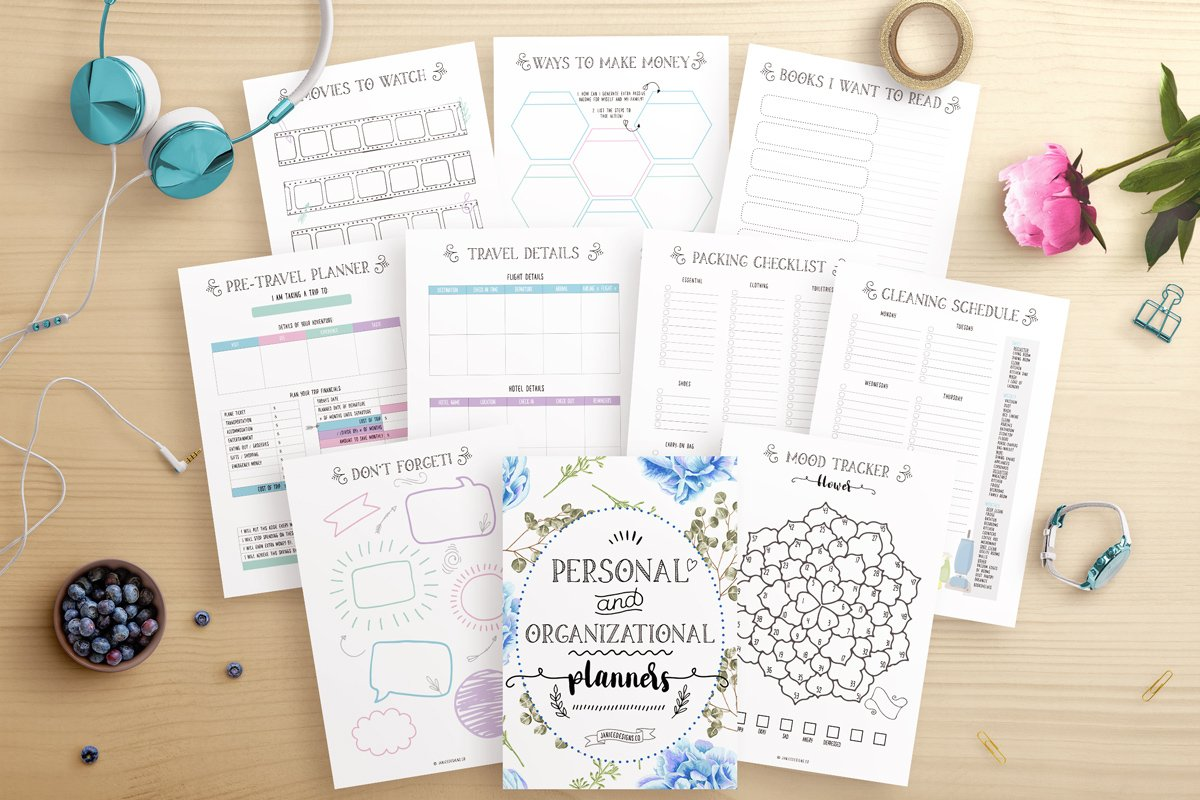 Personal and home organization printable planner